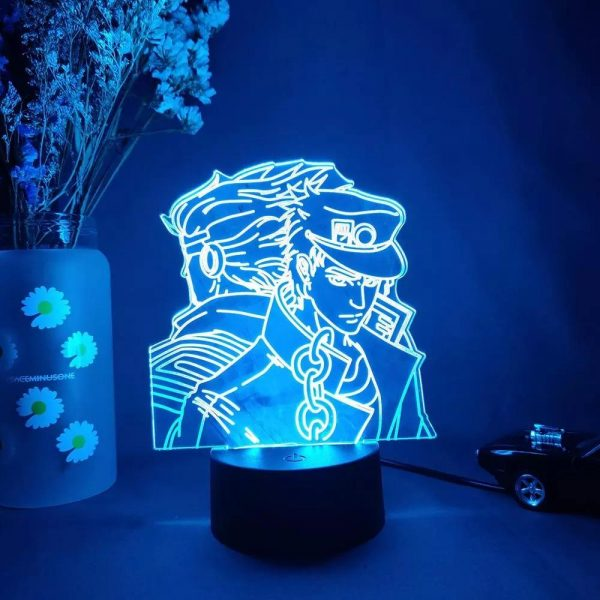 img 4 3D Anime Lamp JoJo s Bizarre Adventure JoJo Silhouette Laser Engraved Upward Lighting Novelty Gift Night.jpg .webp - Anime 3D lamp