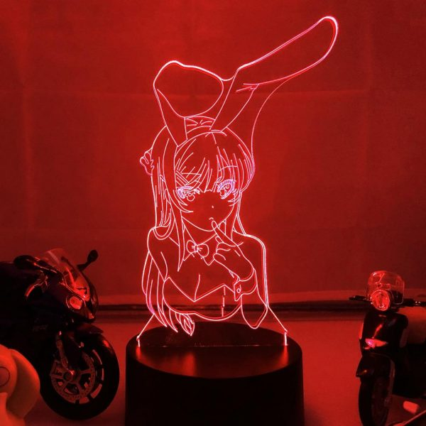 BUNNY GIRL WAIFU LED ANIME LAMP (RASCAL DOES NOT DREAM OF A BUNNY GIRL SENPAI) Otaku0705 TOUCH Official Anime Light Lamp Merch